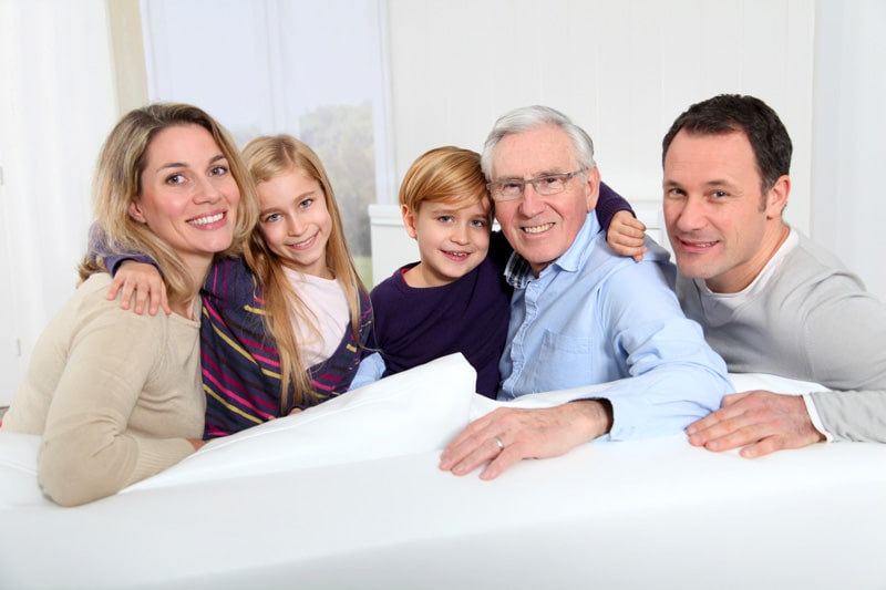 Image of a family with Granddad, Parents and Grand children who are discussing Powers of Attorney in York for CJS Legal Services Ltd